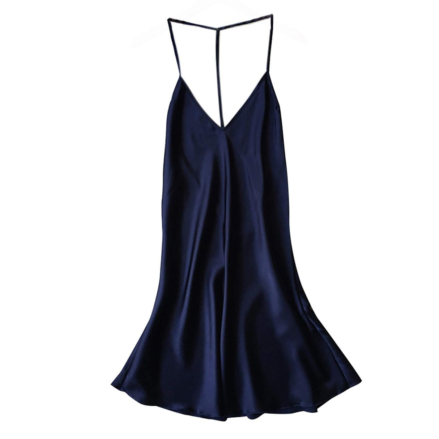 TIFENNY Women's Sexy Satin Sleepwear Appeal Babydoll Lingerie Backless Nightdress Pajamas Vest Sling Blue