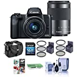 Canon EOS M50 Mirrorless Camera EF-M 15-45mm f/3.5-6.3 EF-M 55-200mm f/4.5-6.3 IS STM Lenses, Black - Bundle 16GB SDHC Card, Camera Case, 49mm/52mm Filter Kits, Cleaning Kit More