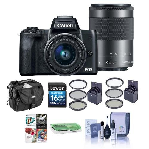 Cheap Canon EOS M50 Mirrorless Camera with EF-M 15-45mm f/3.5-6.3 and EF-M 55-200mm f/4.5-6.3 is STM Lenses, Black – Bundle with 16GB SDHC Card, Camera Case, 49mm/52mm Filter Kits, Cleaning Kit, and More