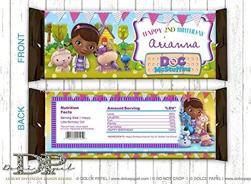 10 DOC MCSTUFFINS Birthday Party Favors ANY AGE Doc Mcstuffins Custom Large Hershey Candy Bar Wrappers]()