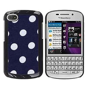 FECELL CITY // Duro Aluminio Pegatina PC Caso decorativo Funda Carcasa de Protección para BlackBerry Q10 // Polka Dot Navy Blue Purple White Spots