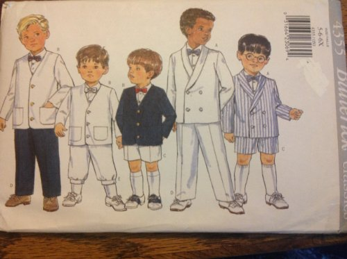 (Butterick 4355 Sewing Pattern for Toddlers Boys Formal Suit Wardrobe Button Front Jacket, Shorts, Pants, Knickers, Bow Tie, in Sizes)
