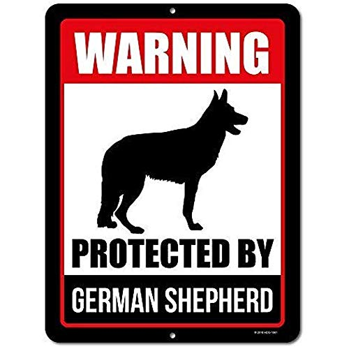 Shepherd Dog Plate - TGDB Beware of Dog Sign Warning Protected by German Shepherd Aluminum Metal Tin Sign Plate Beware of Dog Warning Metal Aluminum Sign Decor Beware of Dog Sign