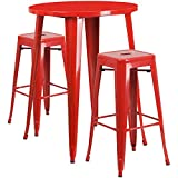 Flash Furniture 30'' Round Red Metal Indoor-Outdoor Bar Table Set with 2 Square Seat Backless Stools