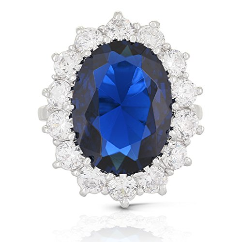 JanKuo Jewelry Royal Family Large Kate Middleton Engagement Inspired Ring with Blue Sapphire Color CZ ()