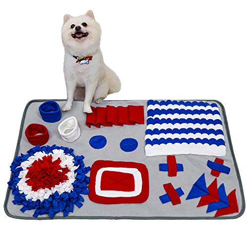 AIBORS Nosework Mat, Training Blanket for Dog Stress Release, Feeding Fun Activity and More(S,Gray)