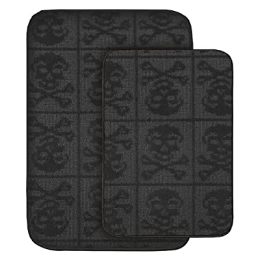 Garland Rug Skulls 2-Piece Bath Rug Set, Black