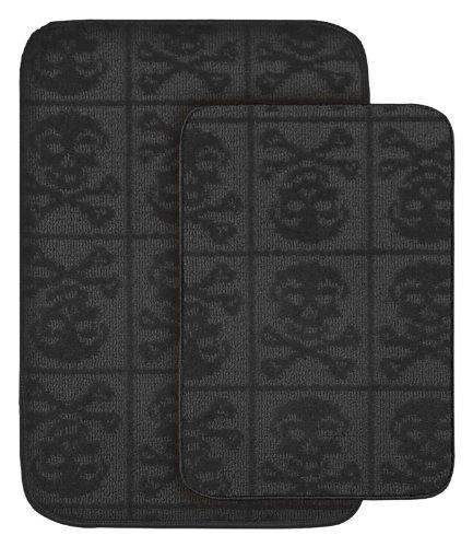 Amazon Com Garland Rug Skulls 2 Piece Bath Rug Set Black Home Kitchen