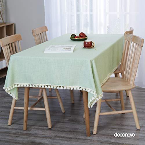Deconovo Manteles Mesa Cocina Efecto Lino Impermeable Antimanchas Moderno 137x274cm Verde Claro