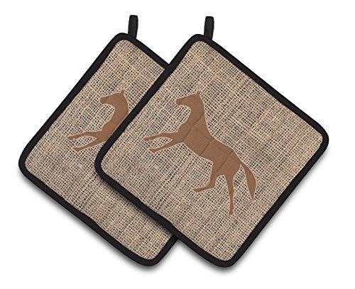 Caroline's Treasures BB1003-BL-BN-PTHD Horse Faux Burlap and Brown Pair of Pot Holders, 7.5HX7.5W, Multicolor