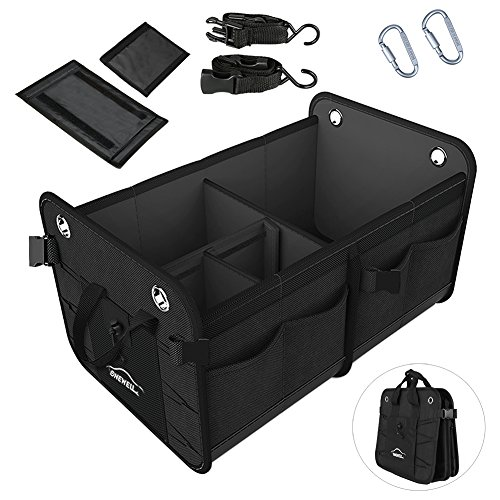 Onewell Portable Car Trunk Organizer, Auto Durable Collapsible Cargo Storage Container with 2 Straps, Waterproof and Non-Slip Bottom for Car, SUV, Truck, Van