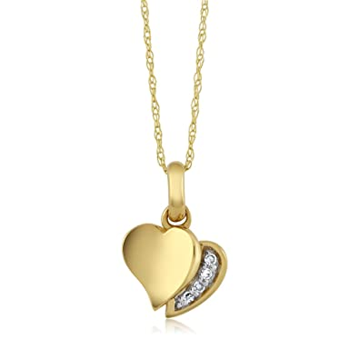 7804dbfa9 Gem Stone King 18k Yellow Gold White Diamond Heart Shape Ladies Pendant  Necklace with 18inches 18k