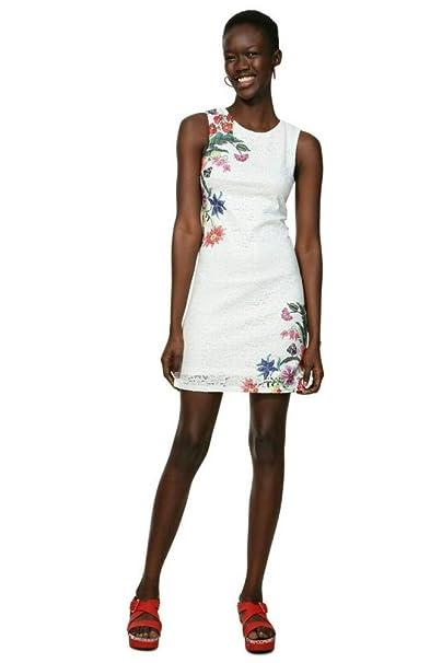 buy online 96635 8d5f6 Desigual Vestiti Vest_Kristal 19SWVWAW100034 Bianco: Amazon ...