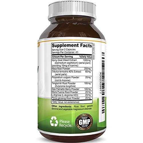 1000 mg Horny Goat Weed Supplement for Drive and Stamina - Pure Epimedium with Tongkat Ali Maca Root Ginseng Saw Palmetto - Boosts Performance for Men and Women 90 Capsules by Natures Craft by Natures Craft (Image #2)