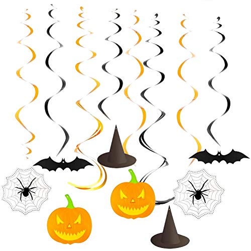 Ccfoud Halloween Party Creepy Creatures Hanging Swirl Decoration (Bats, Witch Hats, Pumpkins and Spiders), Foil & Paper,30 pcs
