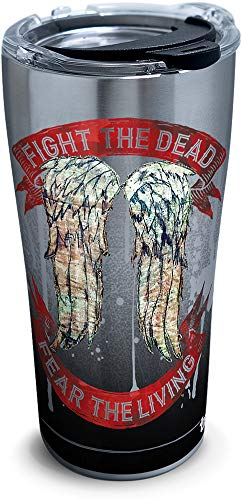 Tervis 1305470 The Walking Dead - Daryl Wings Insulated Travel Tumbler with Lid 20oz - Stainless Steel Silver