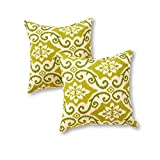 Greendale Home Fashions OC4803S2-SHOREHAM Indoor/Outdoor Accent Pillows, Green Ikat, Set of 2