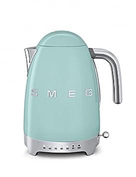 SMEG Calentador de Agua electrico, hervidor KLF04PGEU, 2400 W, 1.7 litros, De plástico, Acero Inoxidable, Verde Pastel