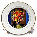 3dRose Danita Delimont - Flowers - Greece, Crete, Window with flowers - 8 inch Porcelain Plate (cp_277435_1)