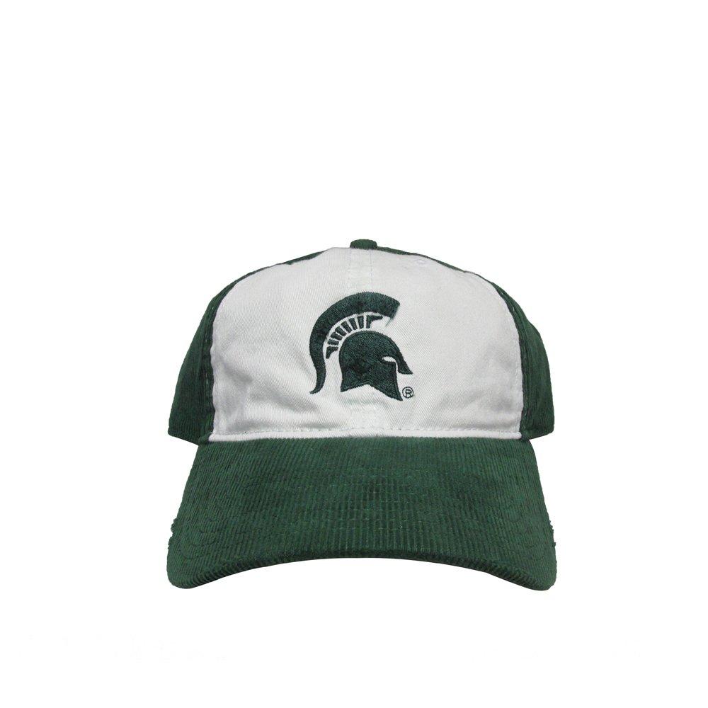 Michigan State University Spartans Green//White Corduroy College Team Strap Back Dad Hat Cap