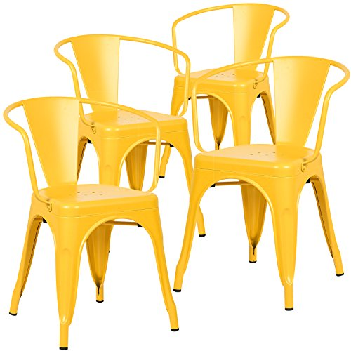 Poly and Bark Trattoria Arm Chair in Yellow (Set of 4)
