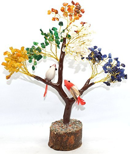 Kala Emporium Natural Seven Chakra Bird Gemstone Chip Tree Feng Shui Spiritual Golden Tree Home Décor Table Décor MONEY TREE of Life Wrapped Wire Tree I Size - 8inche I Stone - Chakra
