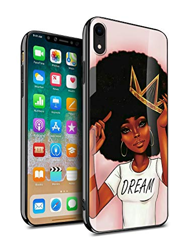 KITATA iPhone XR Case for Women Girly Cover Protective, African American Black Women Afro Girls Africa Melanin Crown Dream Design, Slim Fit Thin Grip Soft TPU and Hard Plastic Phone Cases