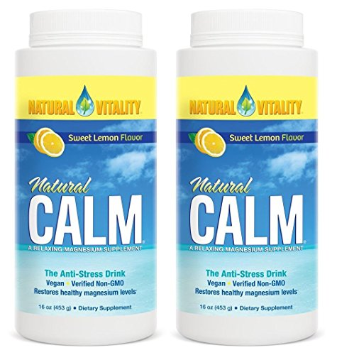 Natural Vitality Natural Magnesium Calm, Lemon (2 Bottles of 16 Ounce)