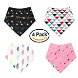 Baby-Bandana-Drool-Bibs-Stylish-4-Pack-Cute-Bibs-with-Snaps-Best-for-Babies-Drooling-Teething-and-Feeding-Soft-Absorbent-Hypoallergenic-Perfect-Baby-Shower-Gift-Set-for-Girls-by-BabyDew