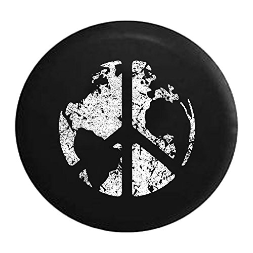 Distressed - Spare Tire Cover World Peace Sign Global Harmony & Love 35 Inch