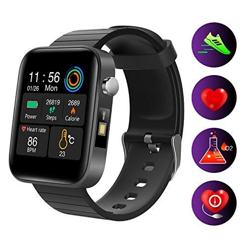 Cucudy SPO2 Monitoramento Relógio Inteligente Tocando Tela de 1,54 Polegada Pulseira de Rastreador de Fitness IP67 À…