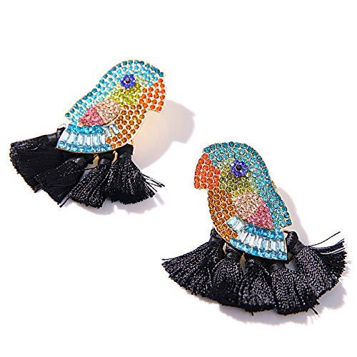 Animal Tassel Earrings for Women - Parrot-Themed Creative Tassel Earrings-Exquisite Handmade Earrings, Idea Gift for Sister/Wife/Friends (PARROT BLACK)