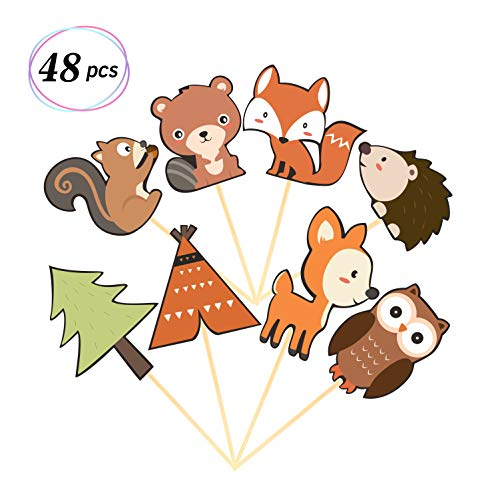 Yaaaaasss! 48Pcs Woodland Creatures Cupcake Toppers Forest Animals Cake Decorations Woodland Theme Baby Shower Birthday Party Supplies ()