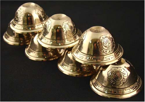 DharmaObjects Tibetan Buddhist 7 Water Offering Bowls Brass 2.5