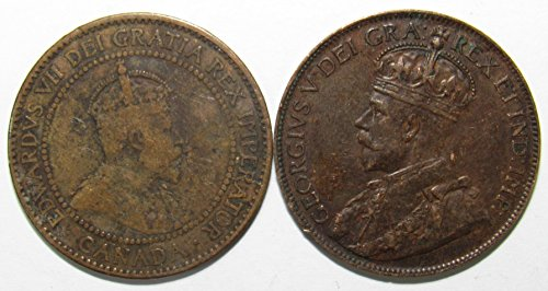 Canadian One Cent Coins - CA 1908 & 1920 Lot of 2 Canadian One Cent Coins Fine/VF