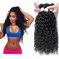 Perstar 8A Grade Uprocessed Brazilian Water Wave virgin hair 4 Bundles Remy Human Hair Natural Color (20 22 24 26, Natural Color) …