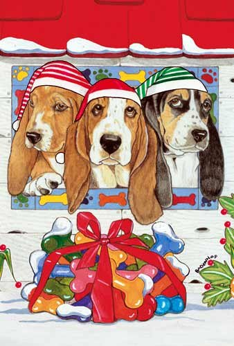 Basset Hound Christmas Cards Santa Lookout : 10 Holiday Cards with Red Envelopes - ADORABLE!