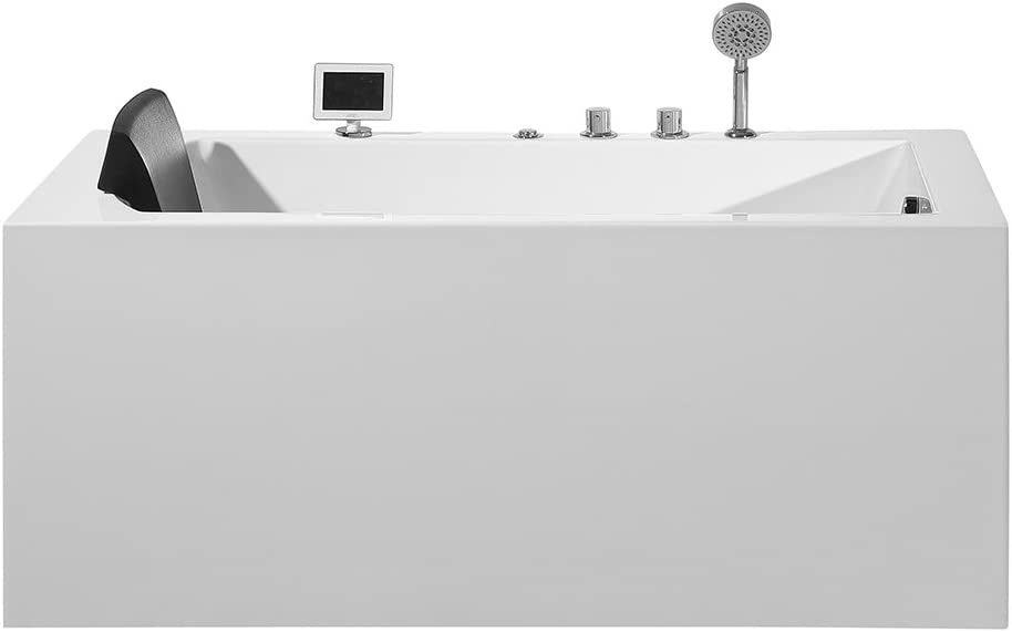 """ARIEL Platinum PW1545930RW1 Whirlpool Bathtub 59"""" x 29.5"""" x 24.6"""" Inches Rectangular Jetted Air Bubble Soaker Tub with Right Side Drain and Fitted Back Rest"""