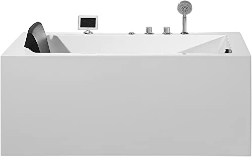 ARIEL Platinum PW1545930RW1 Whirlpool Bathtub 59 x 29.5 x 24.6 Inches Rectangular Jetted Air Bubble Soaker Tub with Right Side Drain and Fitted Back Rest