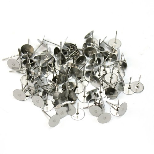 Steel Flat Pad Earring Post Stud Jewelry Findings DIY 8mm New (Pins Earrings Silver Plated)