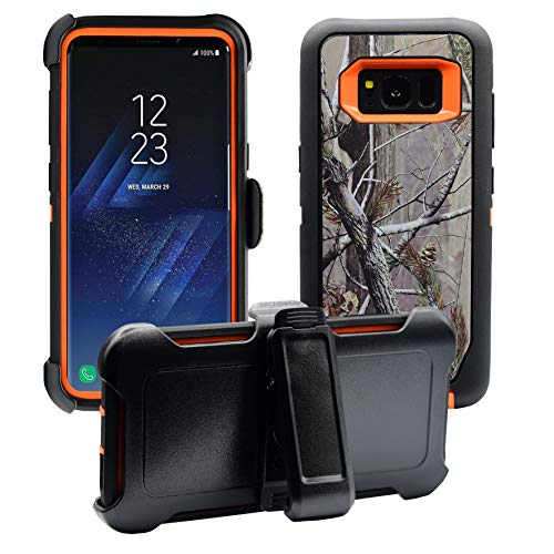AlphaCell Cover Compatible with Samsung Galaxy S8 | Holster Case Series | Military Grade Protection with Carrying Belt Clip | Protective Drop-Proof Shock-Proof | Orange/Camouflage