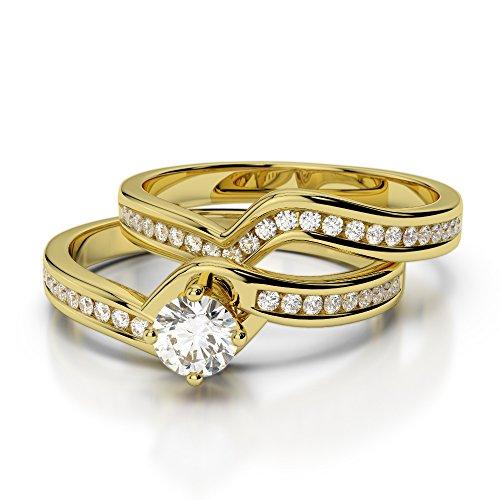 Or jaune 18carats 0,64CT G-H/VS sertie de diamants Coupe ronde de mariage Bague de fiançailles et ensemble de Agdr-2005
