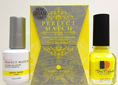 LeChat Perfect Match DUAL SET Soak Off Gel Polish and Dare to Wear Nail Lacquer - Happy Hour - PMS39