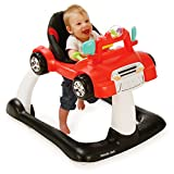 Kolcraft 4x4 2-in-1 Activity Walker -Electronic Toy Steering Wheel with Lights, Car Sounds, and Music, Seated or Walk-Behind Position, Adjustable Seat height (Racer Red)