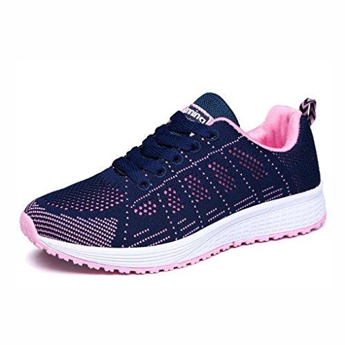 YaXuan Zapatillas de Deporte para Mujeres, Primavera y Verano Zapatillas de Deporte Tejidas voladoras, Zapatos Deportivos Ocasionales de Mujer, (Color : Segundo, Tamaño : 38) UN