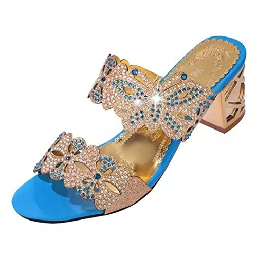 strass Fiori scarpa 2018 donne estive alto con 7cm e Blu tacco Dragon868 Scarpe eleganti Farfalla Pantofole XY1nTzT