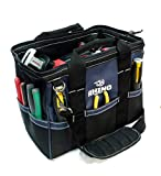 Rhino 14 inch Heavy Duty Wide Mouth Contractor Tool Bag With Back-saver Padded Shoulder Strap