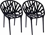 Mod Made Branch Cut Out Dining Chair Stackable, Black, Set of 2