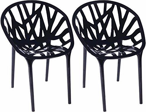 Mod Made Branch Cut Out Dining Chair Stackable, Black, Set of 2 (Dining Asian Chairs)