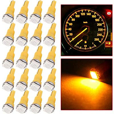 cciyu 20 Pack T5 58 70 73 74 Dashboard Gauge 1-SMD 5050 LED Wedge Lamp Bulbs Lights Replacement fit for Dashboard instrument Panel Light Bulbs LED Lamps (yellow): Automotive
